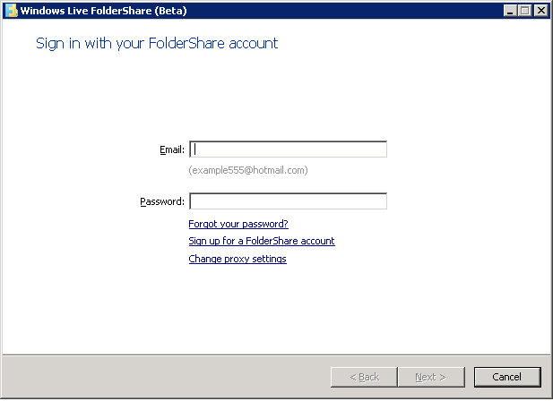 Sign in with your FolderShare account